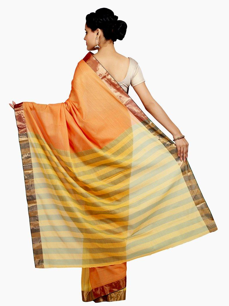 CraftsCollection.in - Orange Mutlicolour Soft Silk Saree