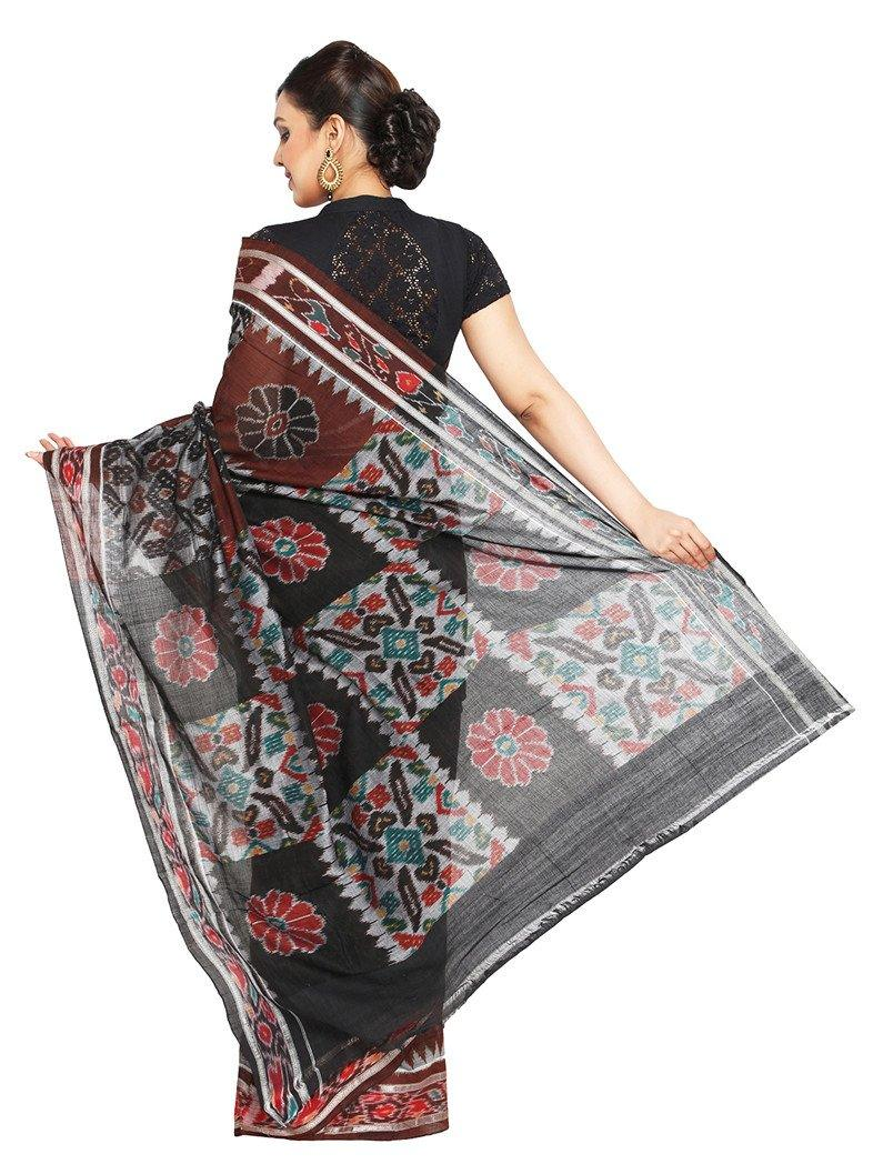CraftsCollection.in - Brown and Black Odisha Handloom Sambalpuri Bandha Saree