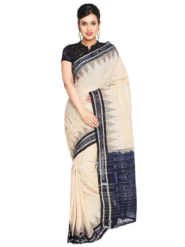 CraftsCollection.in - Beige Odisha Handloom Sambalpuri Bandha Saree