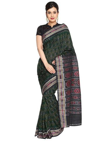 CraftsCollection.in - Green Odisha Handloom Sambalpuri Bandha Saree
