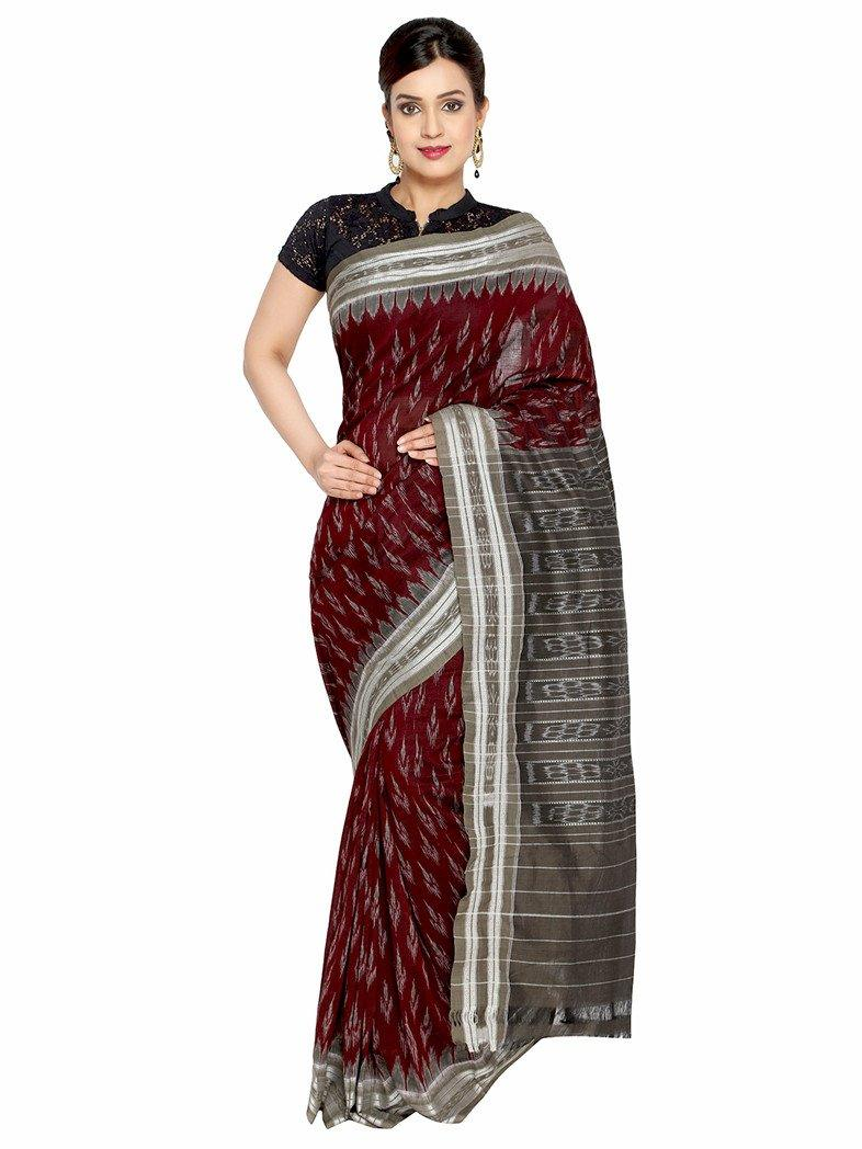 CraftsCollection.in - Maroon Odisha Handloom Sambalpuri Bandha Saree