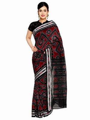 CraftsCollection.in - Black Odisha Handloom Sambalpuri Bandha Saree