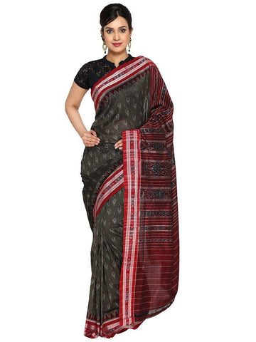 CraftsCollection.in - Grey Odisha Handloom Sambalpuri Bandha Saree