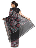 CraftsCollection.in - Grey and Black Odisha Handloom Sambalpuri Bandha Saree
