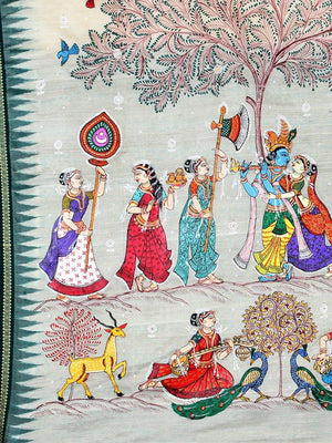 CraftsCollection.in - Beige Sambalpuri Saree with Hand Painted Pattachitra Art