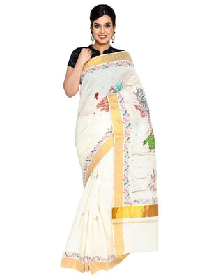 CraftsCollection.in - Cotton Handloom Saree with Hand Painted Pattachitra Art