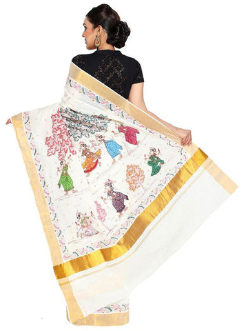 CraftsCollection.in - Cotton handloom Saree with handpainted Pattachitra art