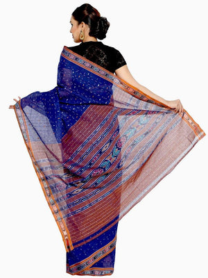 CraftsCollection.in - Blue Odisha Handloom Sambalpuri Bandha Saree