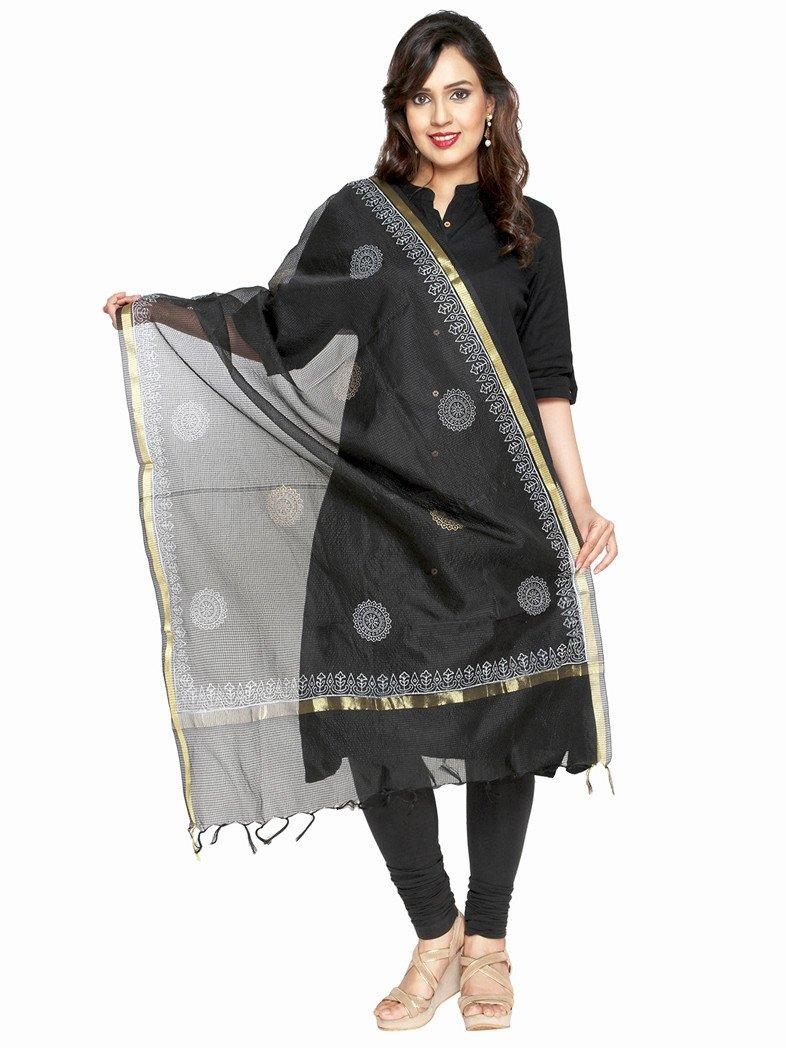 CraftsCollection.in - Black Kota Dupatta with handblock motifs