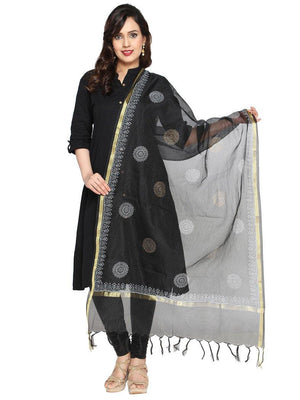 CraftsCollection.in - Black Kota Dupatta with Hand Block Motifs