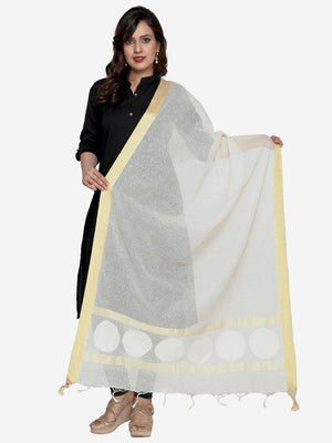 CraftsCollection.in - Cotton Dupatta with Woven Motifs