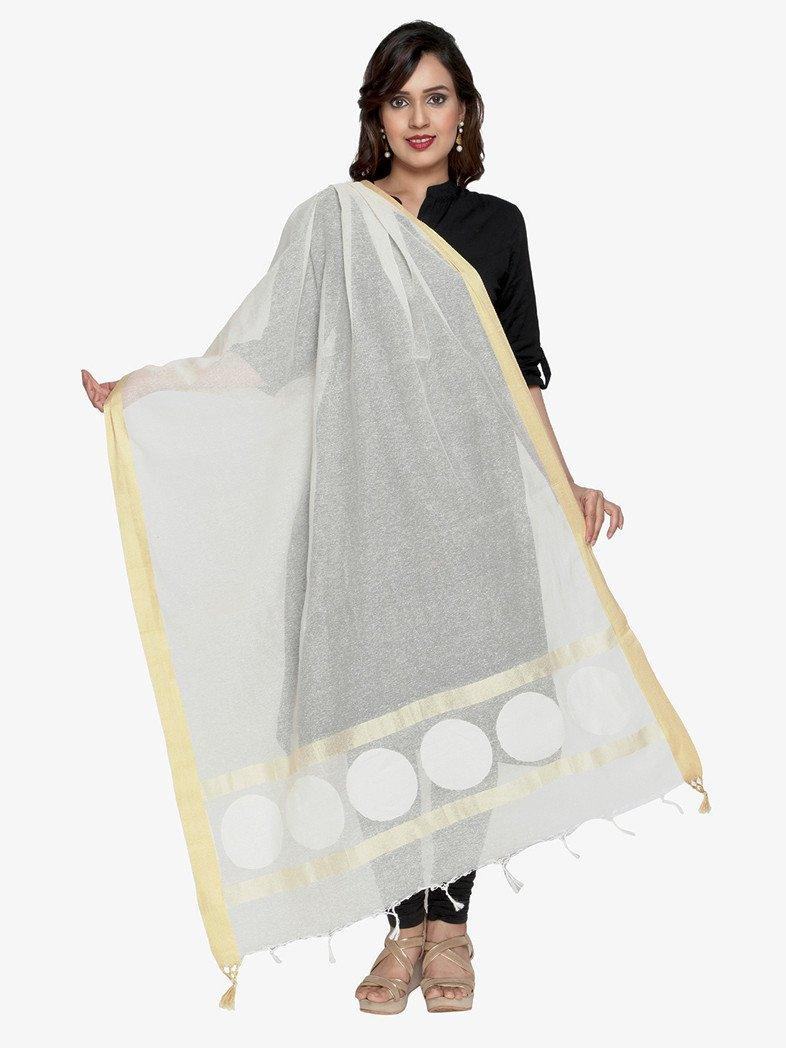 CraftsCollection.in - Jute Dupatta with woven motifs