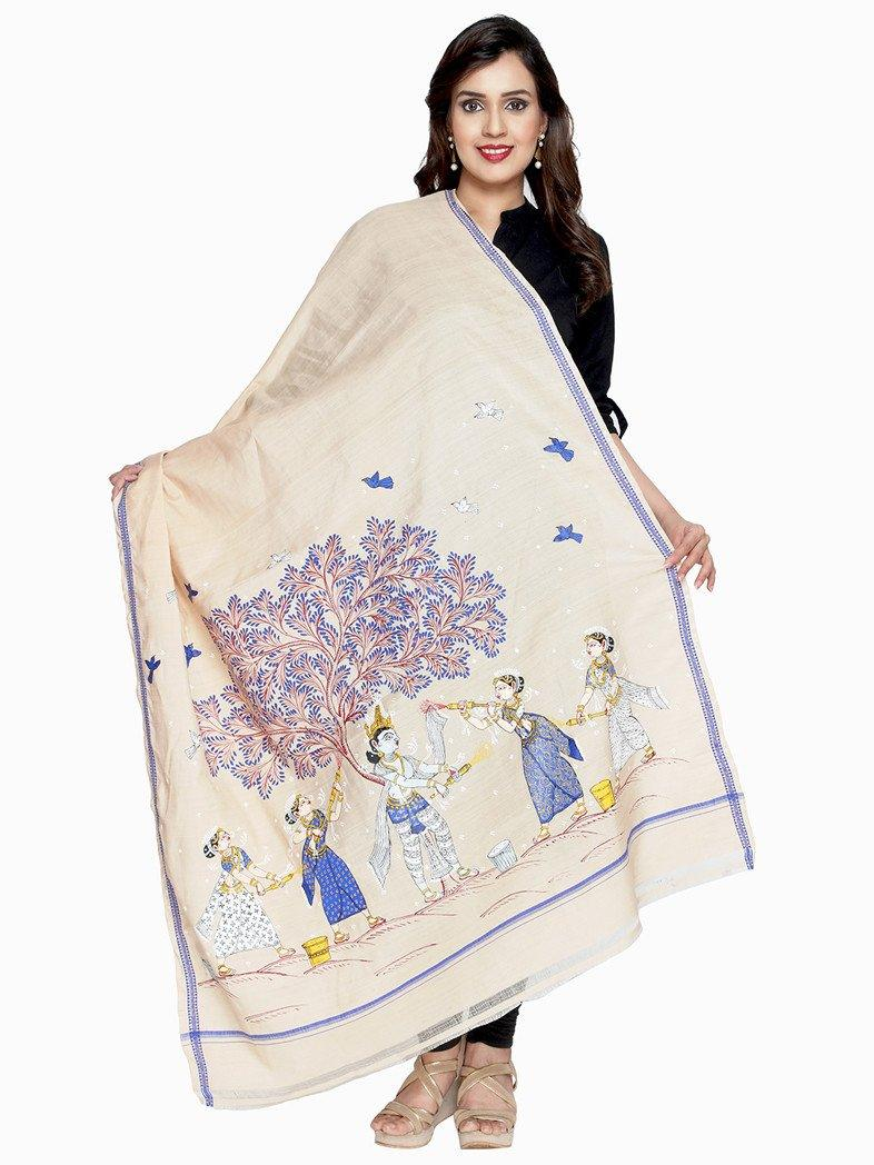 CraftsCollection.in - Beige Cotton Silk Dupatta with handpainted pattachitra art