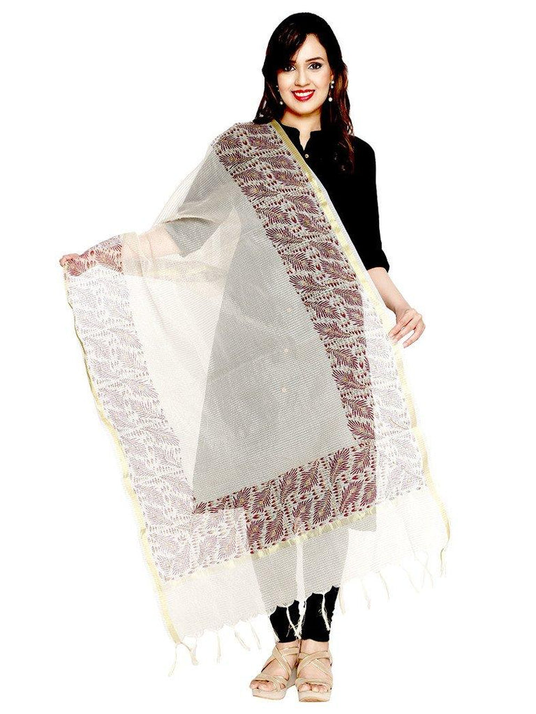 CraftsCollection.in - Beige Kota Dupatta with handblock motifs