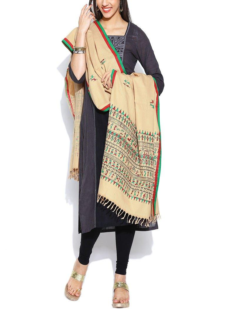 CraftsCollection.in - Bapta Cotton Beige Dupatta with Hand Painted Tribal Art