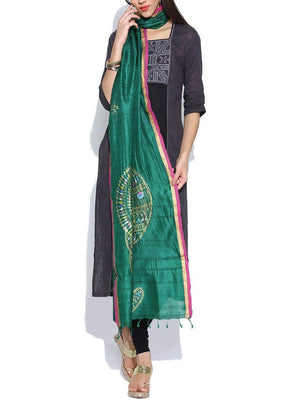 CraftsCollection.in - Green Tussar Silk Stole with Hand Painted Tribal Art
