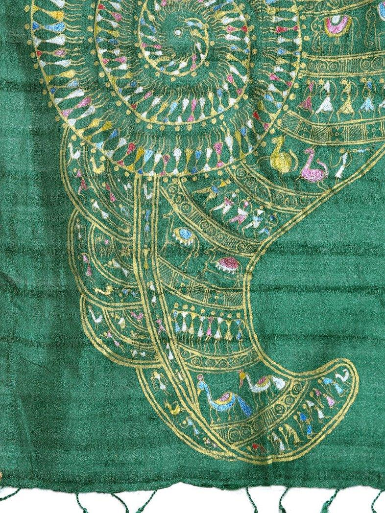 CraftsCollection.in - Green Tussar Silk Stole with handpainted Tribal Art