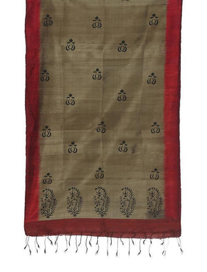 CraftsCollection.in - Grey Silk Stole with Hand Block Motifs