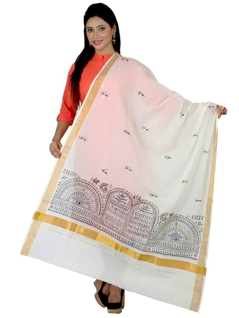 CraftsCollection.in - Offwhite Cotton Dupatta with handpainted tribal art