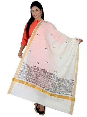 CraftsCollection.in - Off-White Cotton Dupatta with Hand Painted Tribal Art