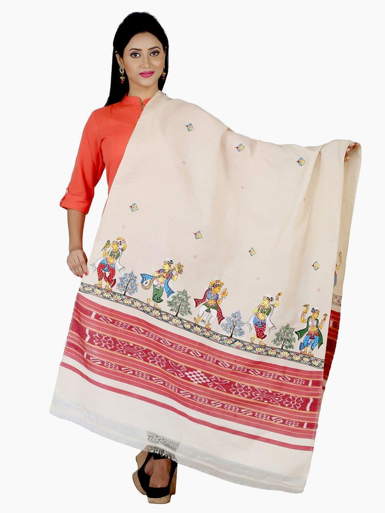 CraftsCollection.in - Beige Sambalpuri Dupatta with handpainted Pattachitra art