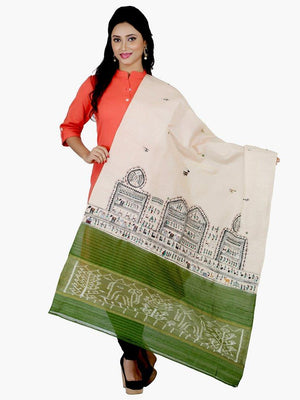 CraftsCollection.in - Beige Sambalpuri Dupatta with Hand Painted Tribal Art