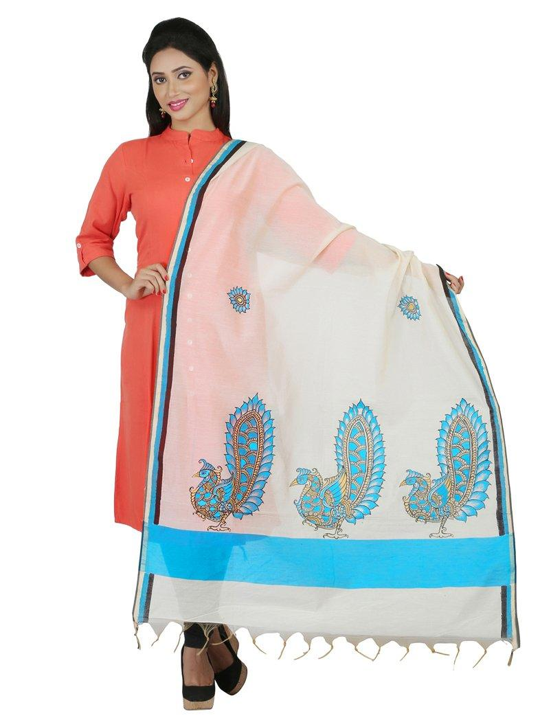 CraftsCollection.in - Chanderi Dupatta with handpainted Kalamkari art