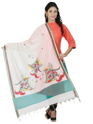 CraftsCollection.in - Chanderi Cotton Dupatta with Hand Painted Madhubani Art