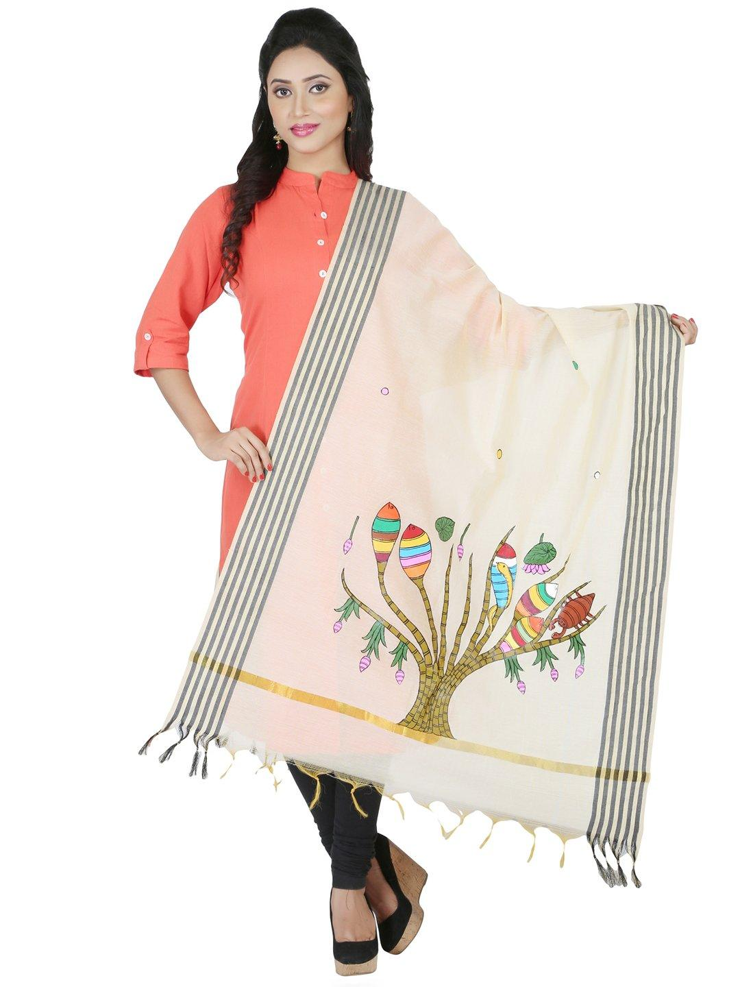 CraftsCollection.in - Beige Chanderi Dupatta with Hand Painted Tribal Art