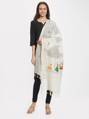 Off-white Cotton Dupatta with hand-painted Pattachitra motifs
