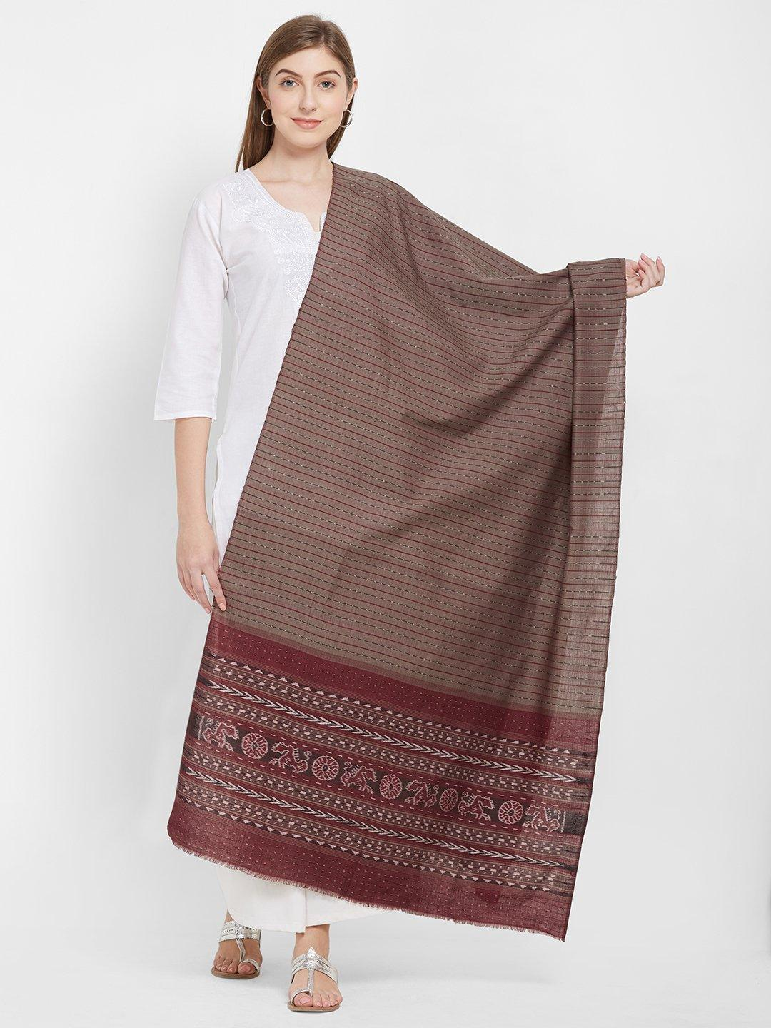 CraftsCollection.in -Grey Cotton Sambalpuri Dupatta
