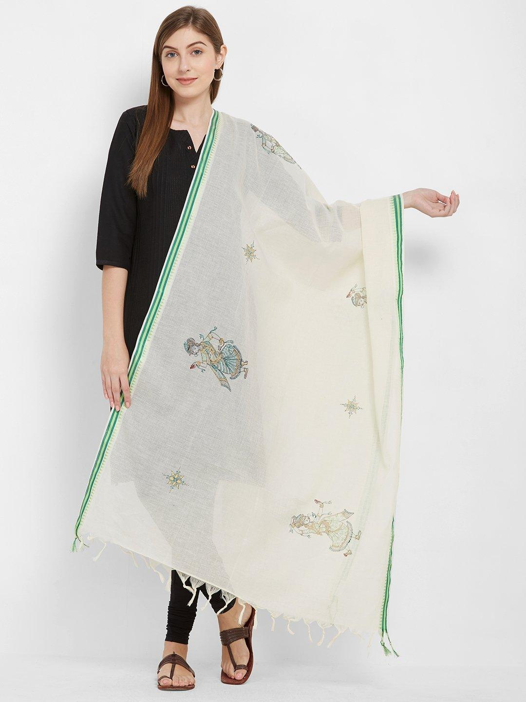 CraftsCollection.in -Offwhite cotton Dupatta with handpainted pattachitra motifs