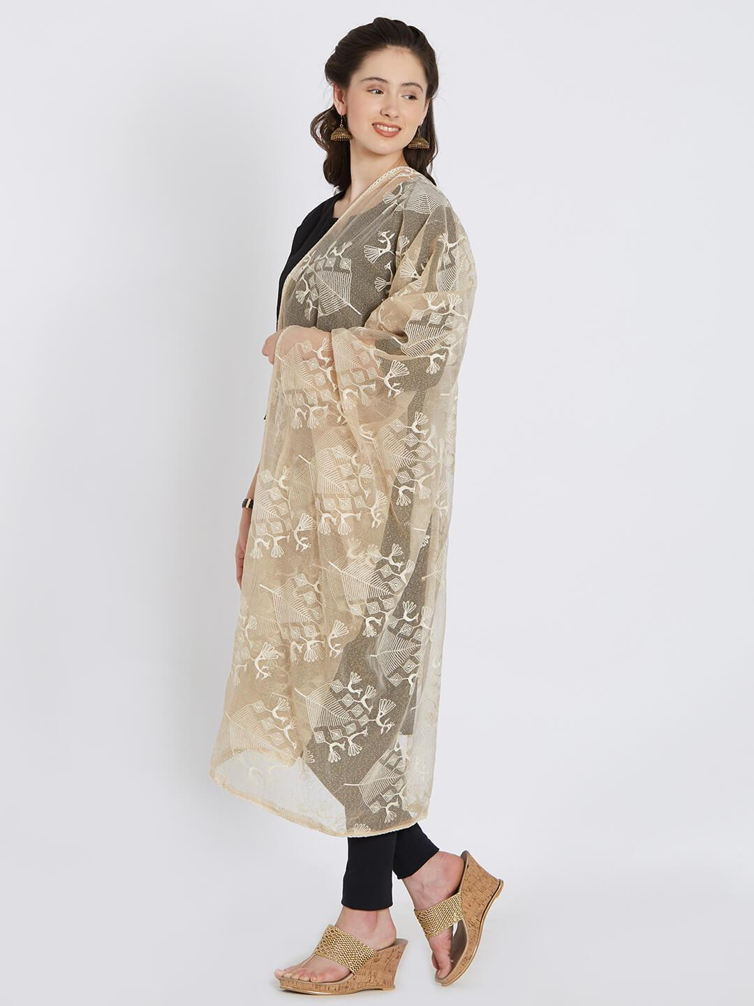 CraftsCollection.in - Beige Jute Dupatta with Tribal motifs