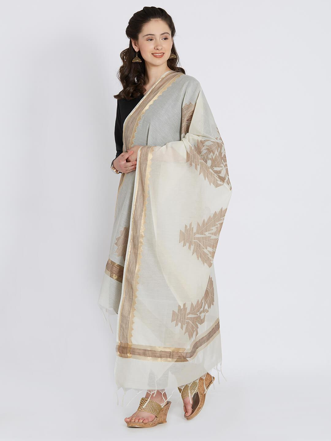 CraftsCollection.in - Beige Chanderi Dupatta with motifs