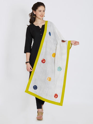 CraftsCollection.in - White Cotton Stole with Patchwork