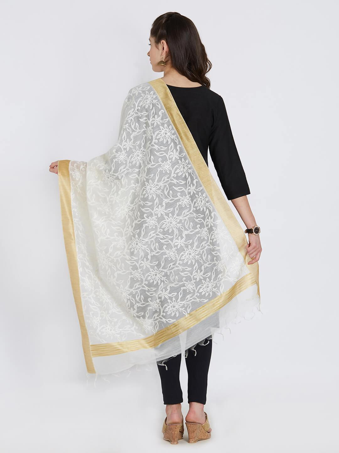 Off-White Chanderi Dupatta with Embroidery