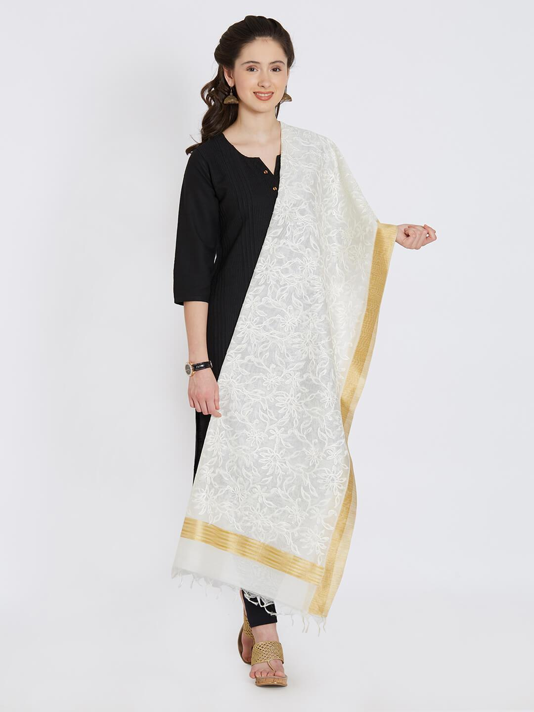 CraftsCollection.in - Off-White Chanderi Dupatta with Embroidery
