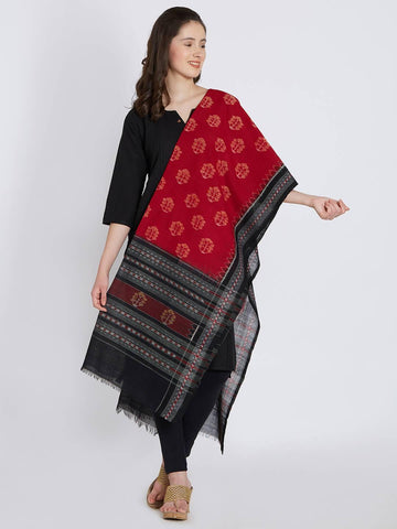 CraftsCollection.in - Red Cotton Orissa Sambalpuri Ikat Dupatta