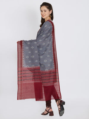 CraftsCollection.in - Grey Cotton Orissa Sambalpuri Ikat Dupatta