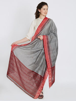 CraftsCollection.in - Grey and Red Cotton Sambalpuri Dupatta