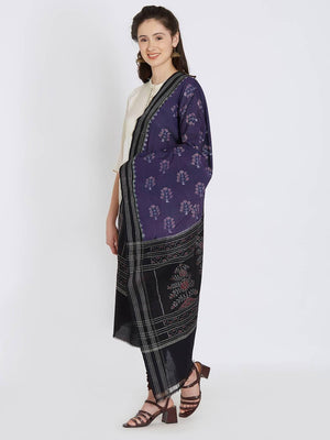 CraftsCollection.in - Purple Double Ikat Sambalpur Cotton Dupatta