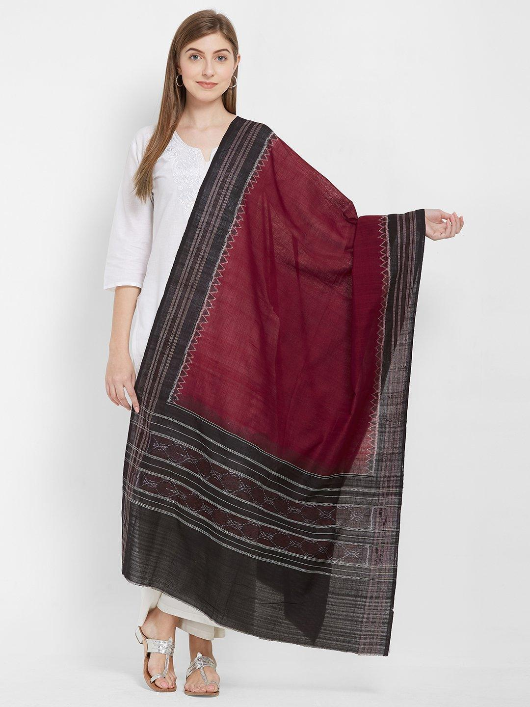 CraftsCollection.in -Maroon and Black Sambalpuri  Cotton Dupatta