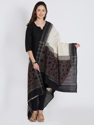 CraftsCollection.in - White and Black Cotton Sambalpuri  Dupatta
