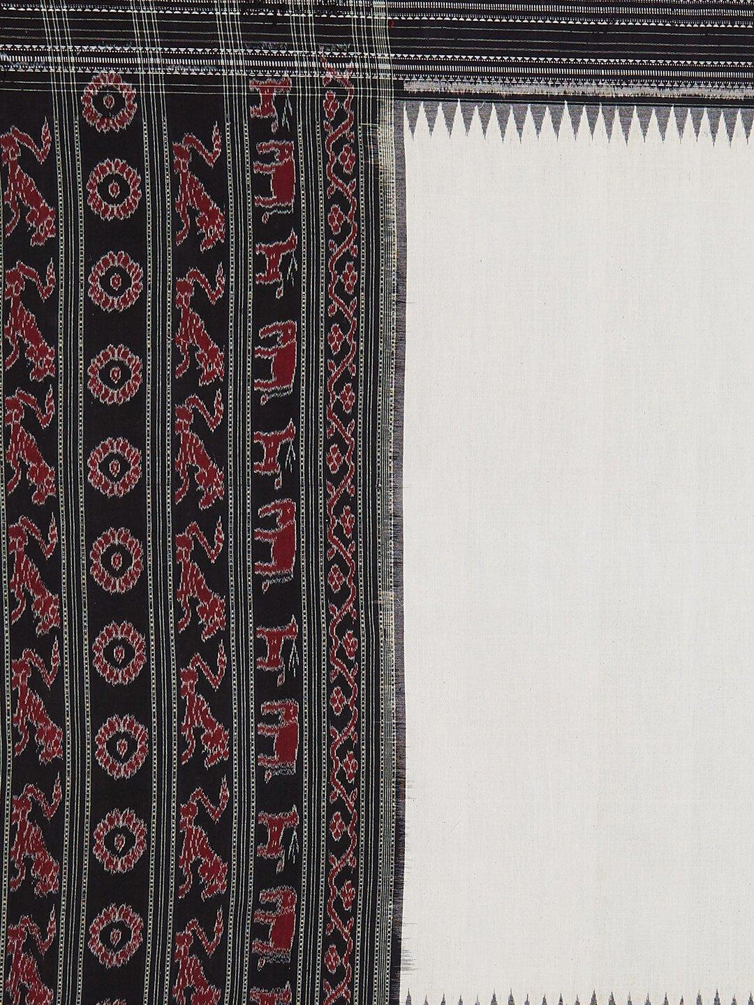 White and Black Cotton Sambalpuri  Dupatta