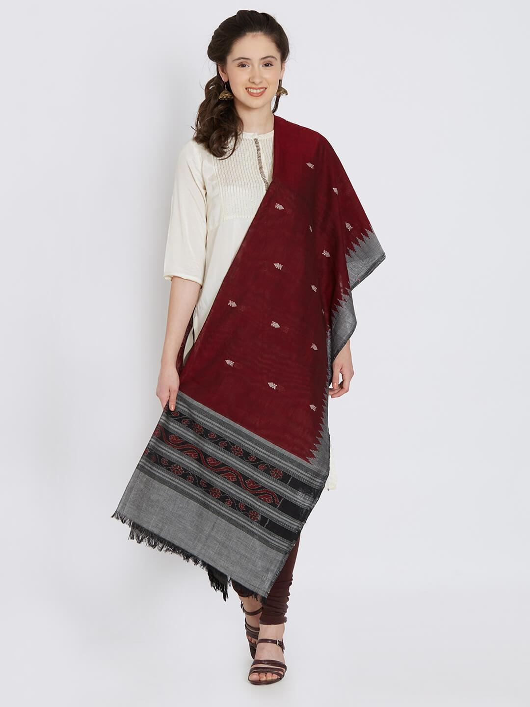CraftsCollection.in - Maroon Grey Sambalpuri Bomkai Cotton Dupatta