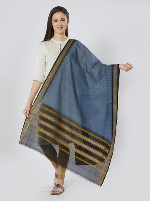 CraftsCollection.in - Grey Cotton Sambalpuri Bomkai Dupatta