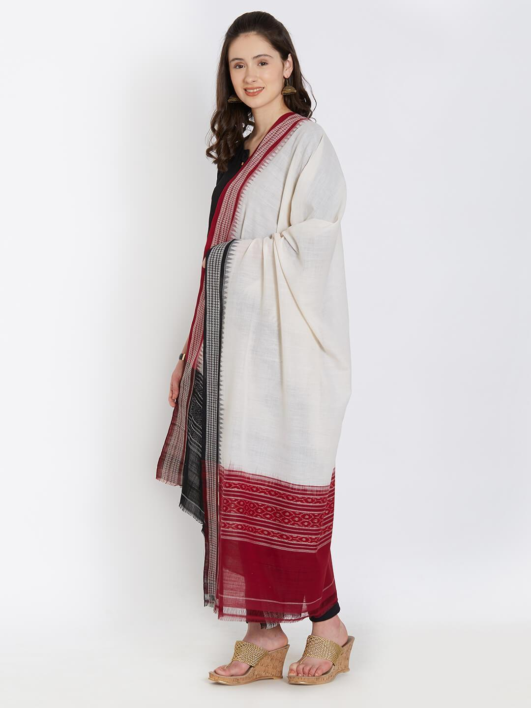 CraftsCollection.in - OffwhiteCotton Gangajamuna Sambalpuri Dupatta