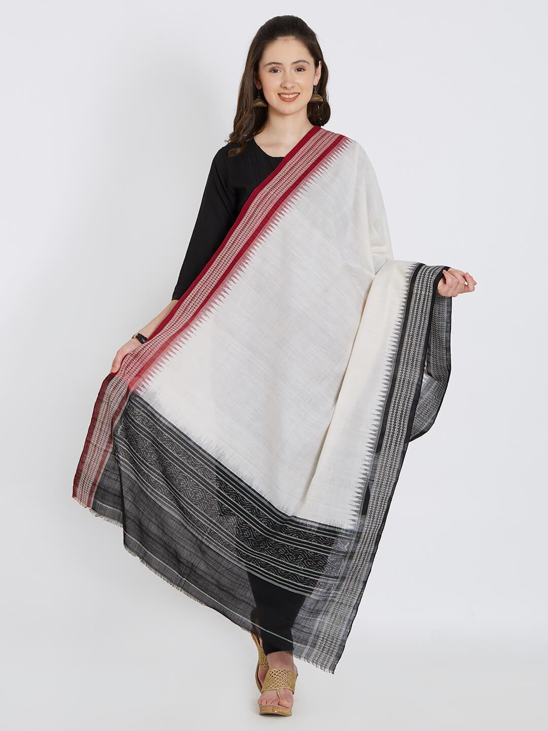 CraftsCollection.in - Off-White Cotton Ganga-Jamuna Sambalpuri Dupatta