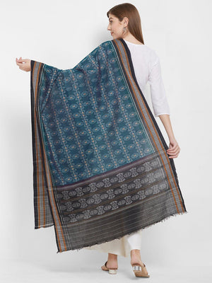 CraftsCollection.in -Blue Sambalpuri Double Ikat Cotton Dupatta