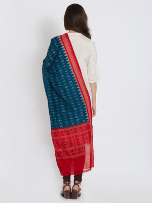 CraftsCollection.in - Green and Red Cotton Sambalpuri Dupatta